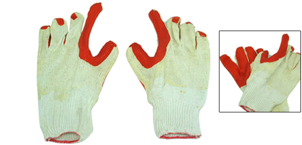 Orange Latex Palm Coated Cotton Glove Anti Slip Finish