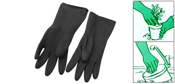 Large Household Long Rubber Latex Gloves Black