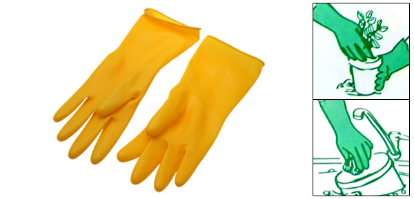 Yellow Household Long Latex Rubber Gloves Large
