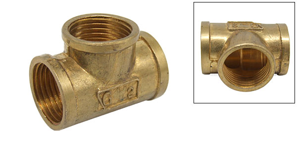 1/2 Bronze Equal Tee FxFxF Thread Water Pipe Splitter 90 Degree Drainage Fittings