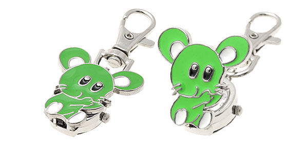 Green Portable Mouse Design Fashion Key Chain Keychain Pocket Watch