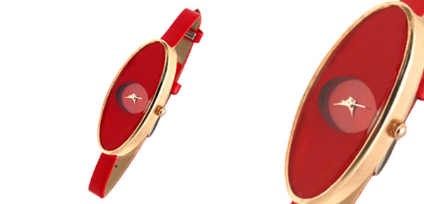 Fashion Jewelry Ladies Girl Oval Face Ultra Slim Red Women Watch
