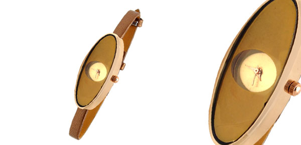 Fashion Jewelry Oval Face Brown Ultra Slim Ladies Girls Women Watch