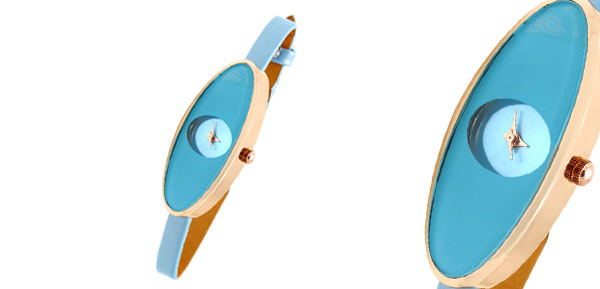 Fashion Jewelry Light Blue Ultra Slim Oval Face Girls Ladies Women Watch