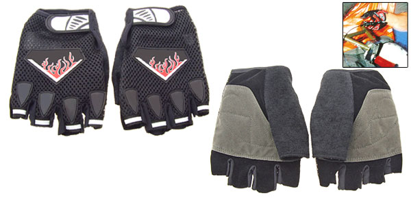 Black Sports Driving Mountain Bike Fingerless Gloves Large