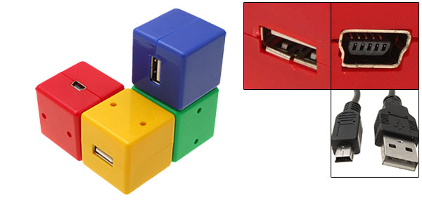 Colorful Grid High Speed 4 Ports USB Hub for Laptop PC Camera