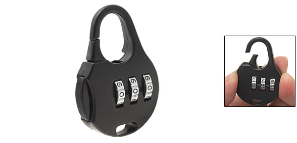 Black Bag 3-Digit Combination Padlock Lock