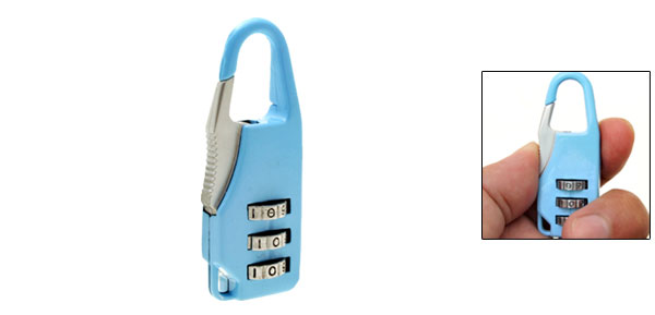 Mini 3 Digit Resettable Combination Lock Padlock Light Blue