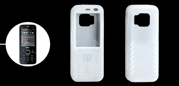 Transparent White Cell Phone Silicone Skin Protector Case for Nokia N78
