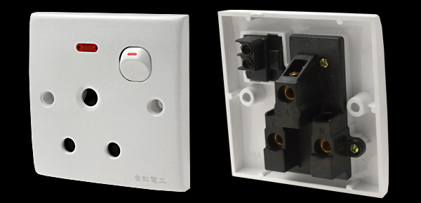 16A 3 Round Pin Socket W/ Switch Indicator Light Wall Plate
