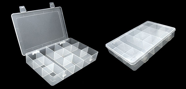 White Transparent Plastic 12 Compartments Fishing Tackle Lure Bait Box