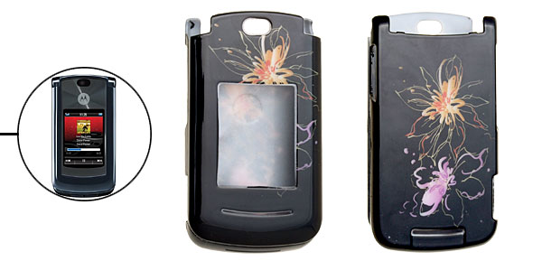 Fancy Flower Pattern Black Hard Plastic Case for Motorola Razr2 V8