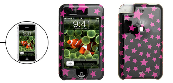Pink Purple Star Plastic Cover Hard Case for Apple iPod Touch Black 1st Generation