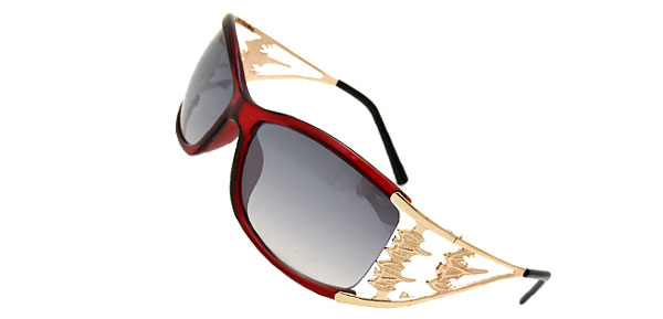 Wine Red Frame  Women's Fancy Bat Sunglasses