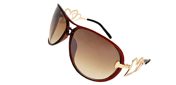 Heart Design Women's Oversized Aviator Sunglasses Brown