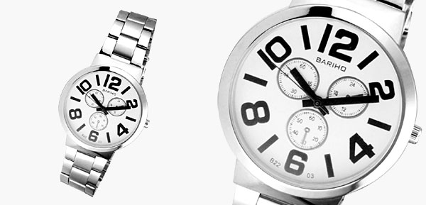 Fashion Jewelry Arabic Number White Dial Round Metal Men Watches