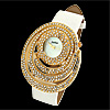 Fashion Jewelry Rhinestone Vortex White Leather Watches for Ladies Women