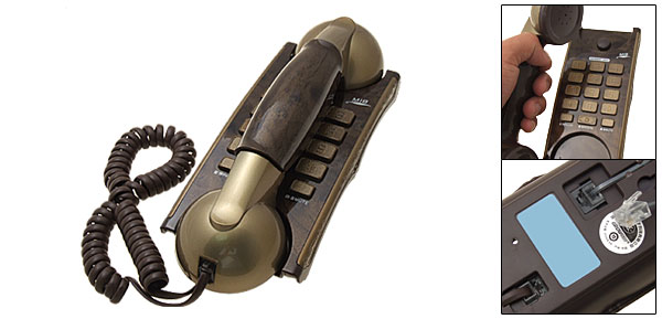 Vintage Bronze RJ11 Wired Wall Mount Home Office Telephone