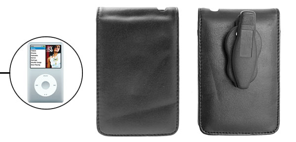 Flip Leather Case for iPod Classic 80GB + Belt Clip Black
