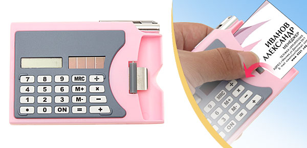 Mini Pink Solar Power Calculator + Business Card Holder + Roller Ball Pen