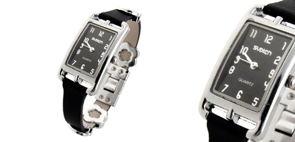 Fashion Jewelry Slim Black Leather Band Ladies' Women's Watch