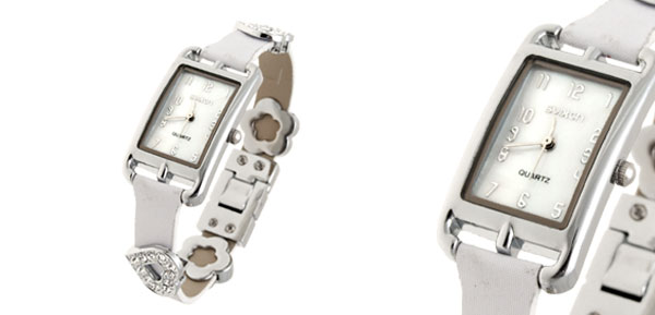 Fashion Jewelry Slim White Leather Band Rhinestone Heart Ladies' Women's Watch