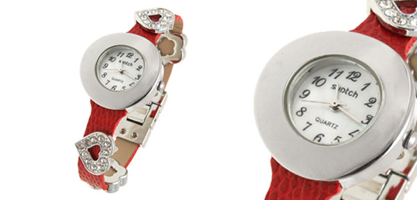 Fashion Jewelry Round Watchcase Red Leather Band Rhinestone Ladies' Women's Watch