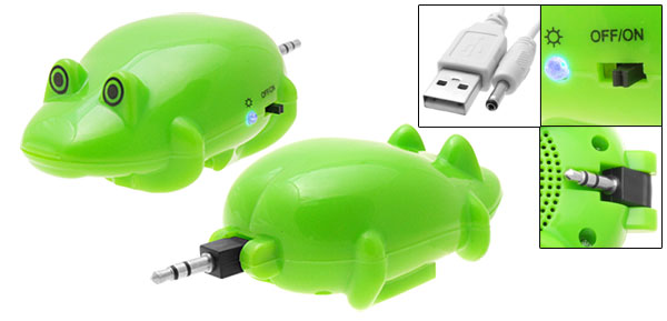 Mini Pocket Green Frog Speaker Built in Battery for iPod MP3 MP4