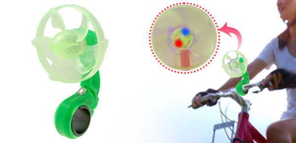 Green Powered Saved Bicycle Fan with Red and Blue LED Light