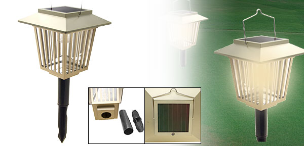 White LED Hut Solar Garden Stake Lamp Light