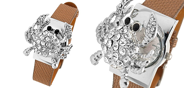 Fashion Jewelry Brown Leather Band Rhinestone Crab Watch