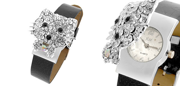 Fashion Jewelry Black Leather Band Rhinestone Cute Cat Watch