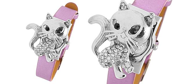 Fashion Jewelry Purple Leather Band Rhinestone Fox Watches