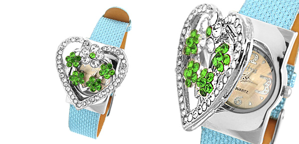 Fashion Jewelry Green Rhinestone Heart Watchcase Blue Leather Band Ladies Watch