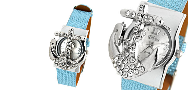 Fashion Jewelry Blue Leather Band Rhinestone Peltate Watch