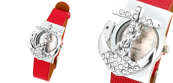 Fashion Jewelry Red Leather Band Rhinestone Peltate Watch