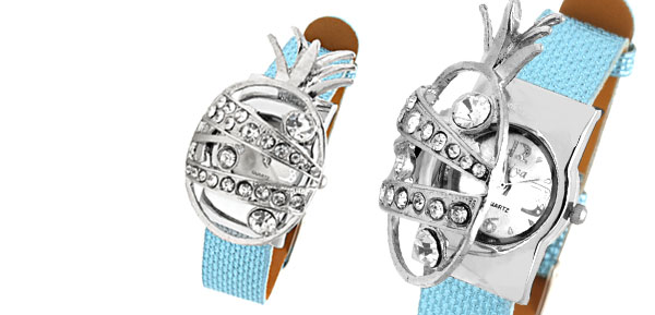 Fashion Jewelry Blue Leather Band Rhinestone Pineapple Watchcase Lady Watches