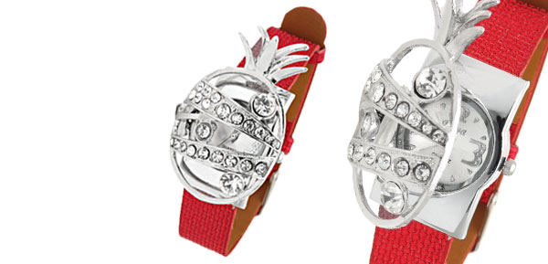 Fashion Jewelry Rhinestone Pineapple Watchcase Red Leather Band Ladies Watch