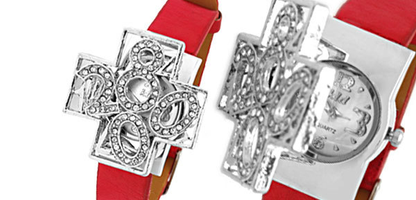 Fashion Jewelry Red Leather Band Silvery Cross Watchcase Lady Watches
