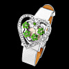 Fashion Jewelry Green Rhinestone Heart Watchcase Silver Leather Band Ladies Watch