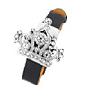 Fashion Jewelry Rhinestone Diadem Watchcase Black Leather Band Ladies Watch