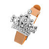 Fashion Jewelry Rhinestone Diadem Watchcase Leather Band Ladies Watch Brown