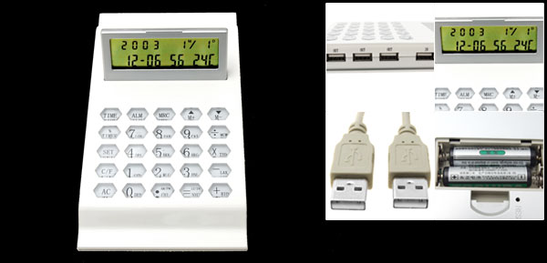 White USB Calendar Calculator Digital Countdown Alarm Clock with Temperature