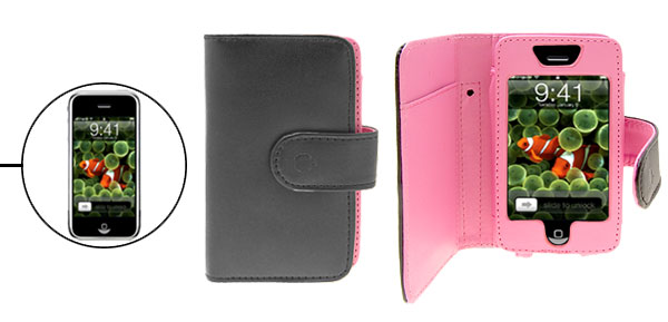 Black Leather Pouch Case with Credit Card Holder for Apple iPhone