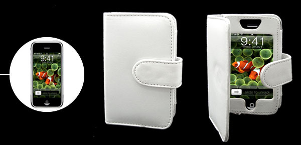 White Leather Pouch Case with Note Holder for Apple iPhone