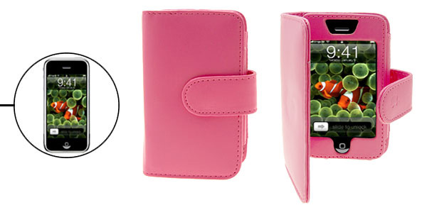 Leather Pink Case Pouch with Business Card Holder for Apple iPhone