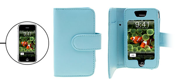 Leather Case Pouch with Business Card Holder for Apple iPhone Blue