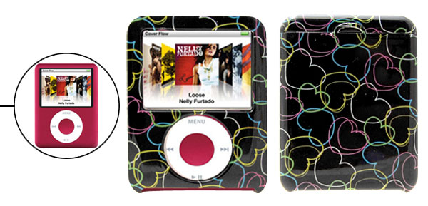 Heart Pattern Hard Plastic Case for iPod Nano 3G 3rd Generation Black