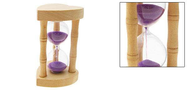 Heart Design Classic Wooden Sandglass Hourglass Sand Timer