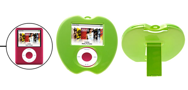 Adorable Green Apple Plastic Hard Cover Case with Stand for iPod Nano 3rd Generation